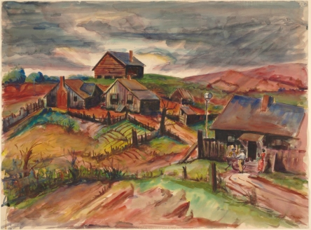 Dox Thrash, Griffin Hills, 1940. The Baltimore Museum of Art: Presented to The Baltimore Museum of Art, November 14, 1941, on behalf of the colored citizens of Baltimore, through offices of the Art Committee of the Women's Cooperative Civic League of Baltimore. The following persons contributed to the gift: Willard W. Allen; William Anderson; Courtland L. Brown; Marse O. Calloway; Mrs. R. Garland Chissell; Dr. John R. Coasey; Coppin Teachers College, Demonstration School; William B. Dixon; Dr. Mason A. Hawkins; Dr. I. Bradshaw Higgins; Dr. D.O.W. Holmes; Dr. Robert L. Jackson; Mr. and Mrs. J. Logan Jenkins, Jr.; Dr. Y. Henderson Kerr; Mollie L. Killion; Edward S. Lewis; William H. McAbee; George W. McMechen; Dr. and Mrs. George B. Murphy; Marion S. Pollett; Furman L. Templeton; Rev. C.J. Trigg; Lillian H. Trusty; Dr. H. Maceo Williams; Dr. Isaac H. Young., BMA 1942.35. © Estate of Dox Thrash. Image used with permission of the Baltimore Museum of Art.