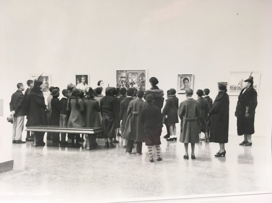 A student group visits the Baltimore Museum of Art on the occasion of its 1939 exhibit Contemporary Negro Art.