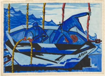 Jacob Lawrence. Lifeboat. 1945. Opaque watercolor over graphite. The Baltimore Museum of Art: Purchased as the gift of the Art Committee of the Women's Cooperative Civic League, BMA 1946.135. Photo courtesy of the Baltimore Museum of Art.