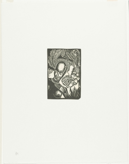 """Hale Woodruff. African Headdress. c. 1931 1946, printed 1996. From the portfolio """"Selections from the Atlanta Period, 1931 1946"""". The Baltimore Museum of Art: Gift of Auldlyn Higgins Williams and Ivan B. Higgins, Jr., M.D., in Memory of their Parents, Dr. I. Bradshaw Higgins and Hilda Moseley Higgins, BMA 1997.302. Photo courtesy of the Baltimore Museum of Art."""